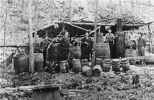 Law officers destroying a moonshine still, Gordon County, GA 1922